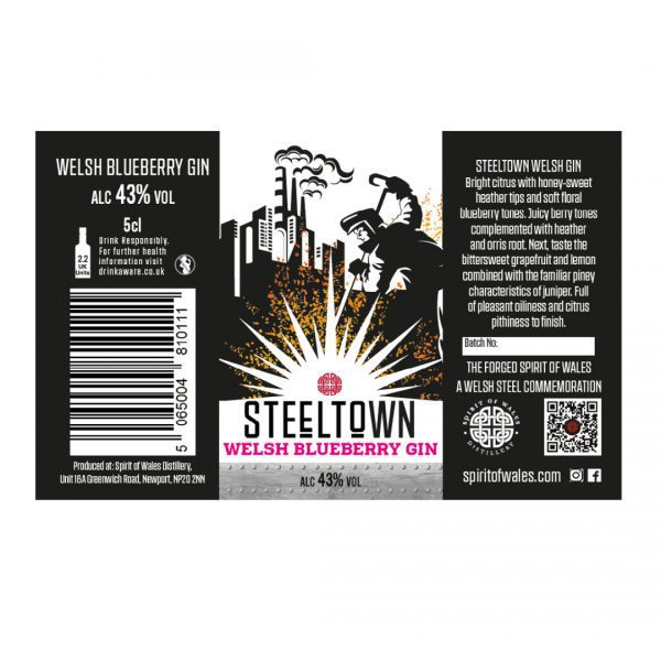 Spirit of Wales Distillery - Steeltown Welsh Blueberry Gin 5cl