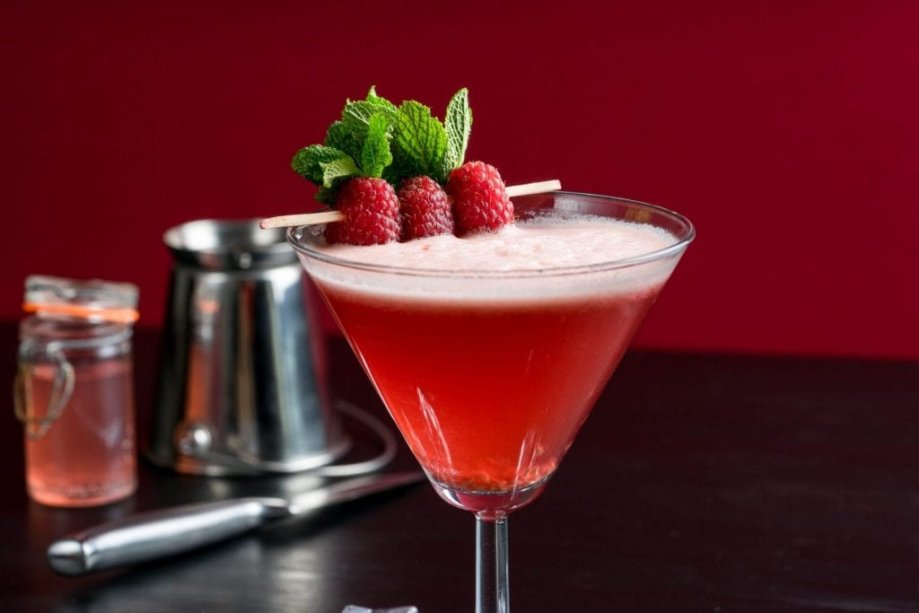 Raspberry Cosmopolitan made with the Spirit of Wales Distillery Release Welsh Vodka.