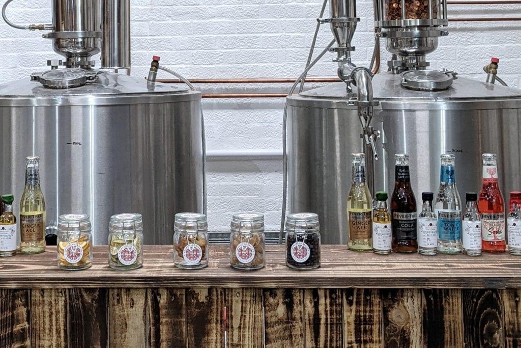 Spirit of Wales Distillery Virtual Tasting Set up behind the bar