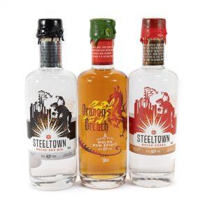 Spirit of Wales Distillery Steeltown and Dragon's Breath Speciality Spirit. Steeltown Welsh Dry Gin, Dragon's Breath Spiced Rum and Steeltown Welsh Vodka.