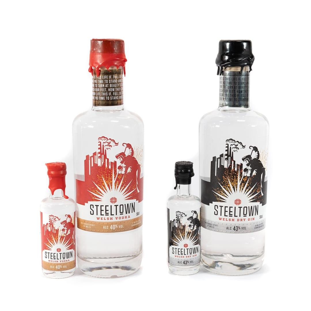 Steeltown Range of Welsh Dry Gin and Vodka