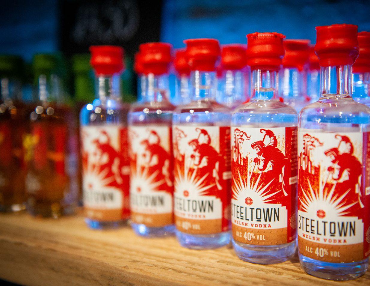 Spirit of Wales Distillery Steeltown Welsh Vodka filtered through Anthracite in Newport Wales