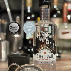 Steeltown Welsh Dry Gin made in Newport at the Spirit of Wales Distillery with two silver awards