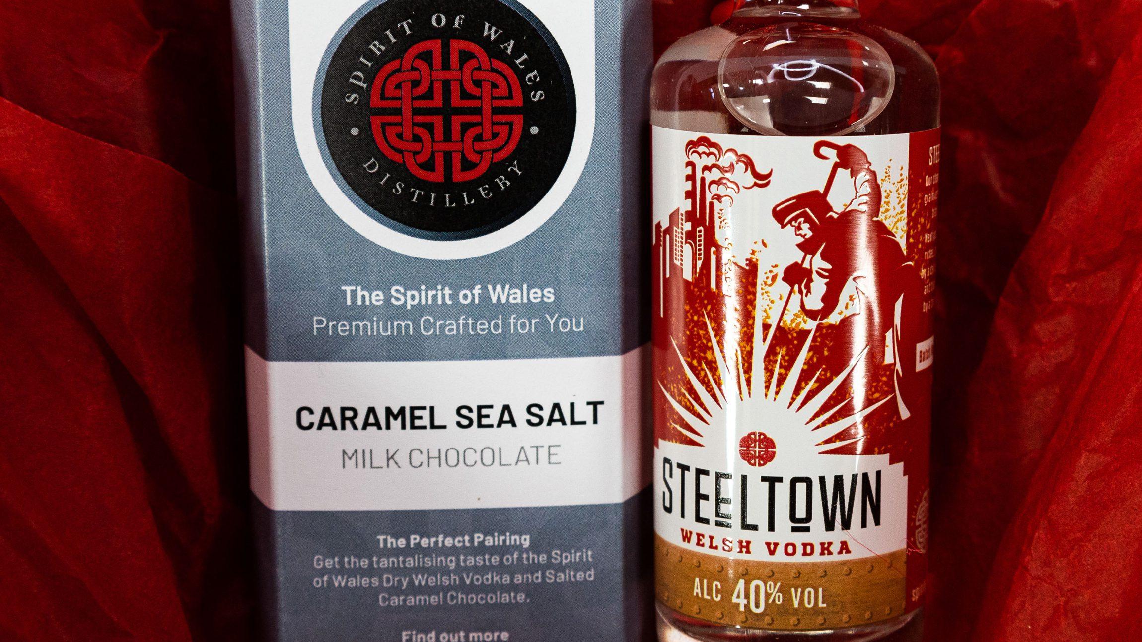 Spirit of Wales Distillery - Chocolate Pairings - Welsh vodka with caramel sea salt chocolate