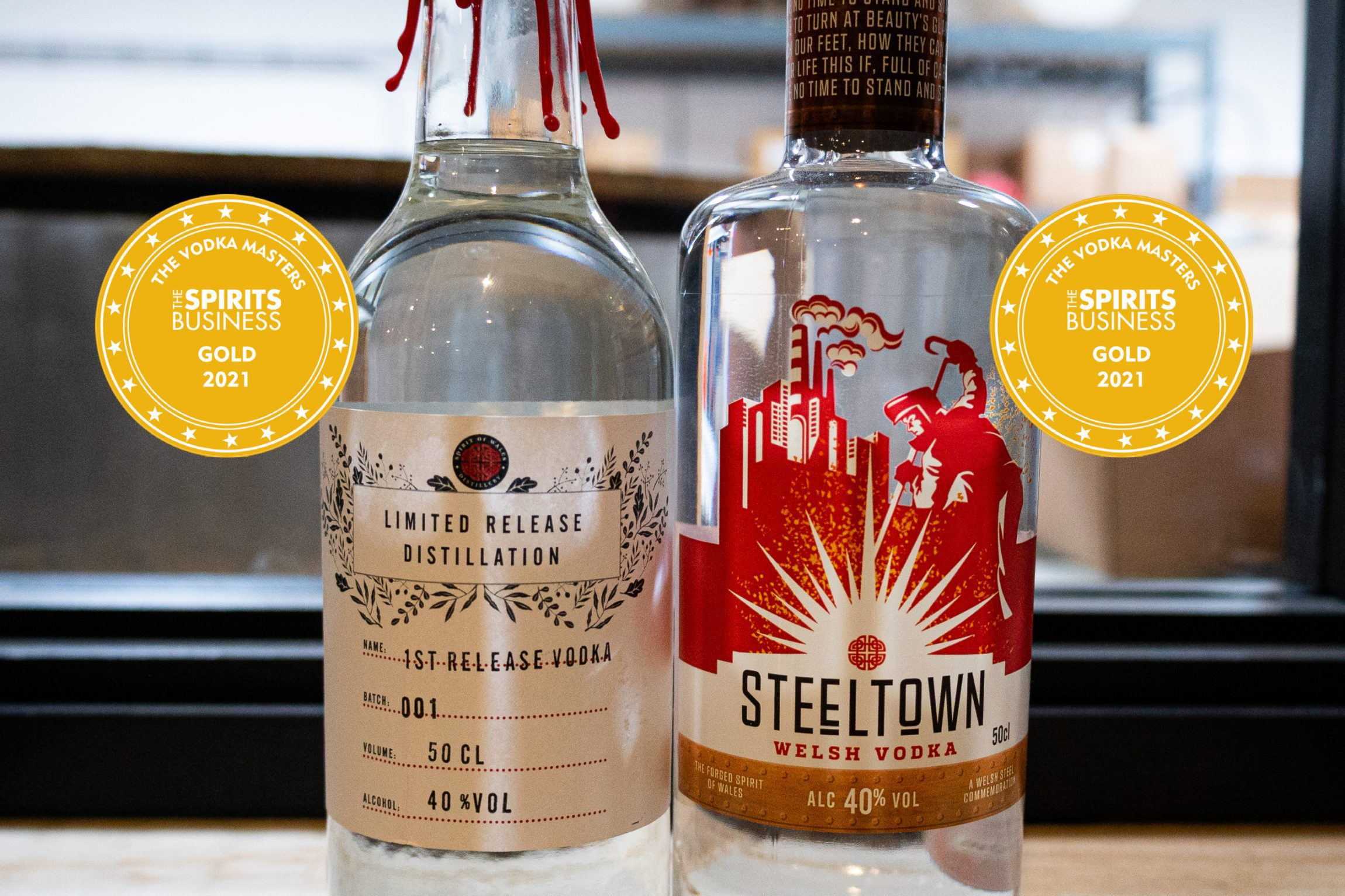 Spirit of Wales Distillery win two gold medals for their Welsh Vodka from the Vodka Masters 2021