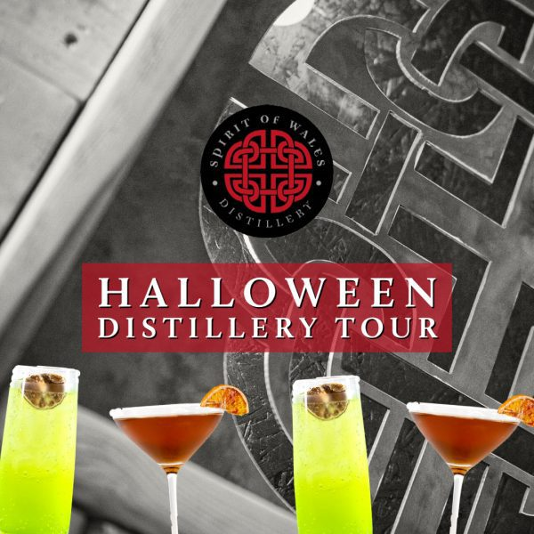 Spirit of Wales Distillery Tour with a Halloween cocktail